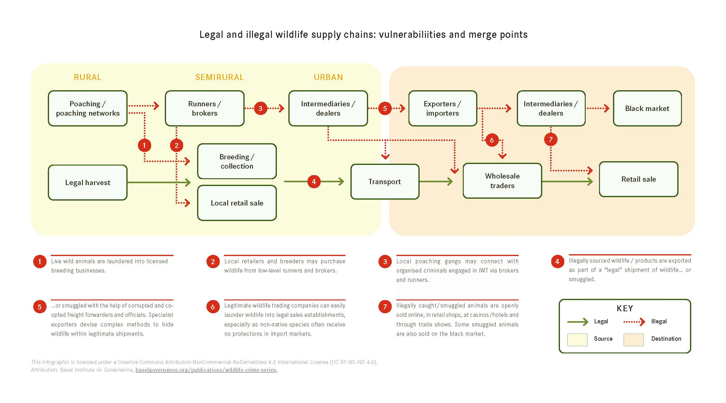 Legal and illegal wildlife supply chains - vulnerabilities and merge points